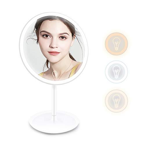 Ranikeer Kosmetikspiegel mit Licht, Wiederaufladbarer Led Schminkspiegel Tischspiegel Rasierspiegel mit 3 Modi, Schwenkbar Make-Up-Spiegel mit Blendfreier Beleuchtung für Zuhause und Unterwegs