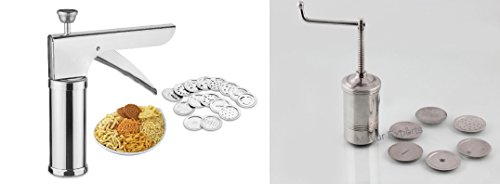 Combo - Mayur Exports Stainless Steel Kitchen Press Farsan Bhujia Maker set and get tong free  available at amazon for Rs.749