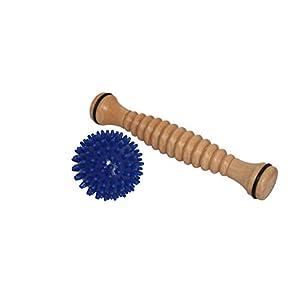 Fußmassagerolle Fußreflexzonen Massage aus Holz gerieft mit Igelball