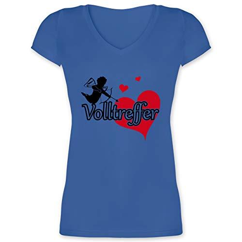 JGA Junggesellinnenabschied - Volltreffer - L - Blau - XO1525 - Damen T-Shirt mit (Griechisch Amor Kostüm)