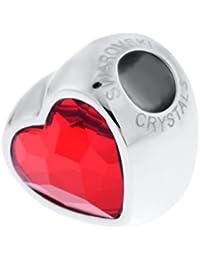 Genuine Charm Bead de Swarovski - Corazón Rojo - Se adapta a Pandora Swarovski Chamilia Brazaletes - Regalo Ideal para Mujeres y Niñas - Viene en Caja de Regalo
