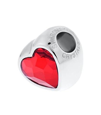 Echt Charm Perle von Swarovski - Rotes Herz - Passt zu Pandora Swarovski Chamilia Armbänder - Ideales Geschenk für Frauen und Mädchen - kommt in Geschenkbox