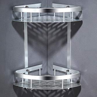 Zwei Tier-handtuch (QAL Duschregal, Badezimmer Eckzarge, Aluminium 2 Tier Zwei Formen, Duschorganisator Aufbewahrungskorb für Handtuch Shampoo Silver-40 * 21.7 * 30)