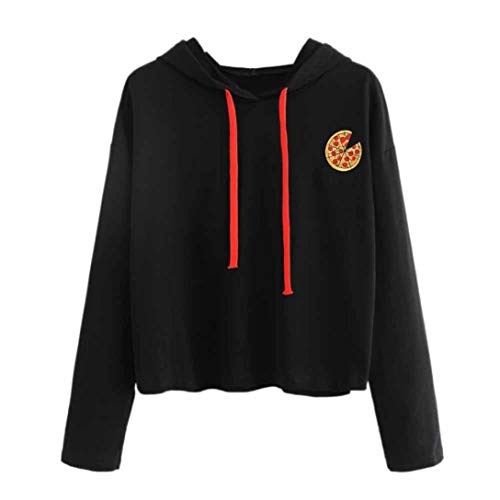 Kapuzenpullover Damen,Shopaholic0709 Damen Hoodier Damen Pizza-Print Zwei-Wolle-Langarm-Pullover Sweatshirt Jumper Sweater Crop Top Print Pullover Tops