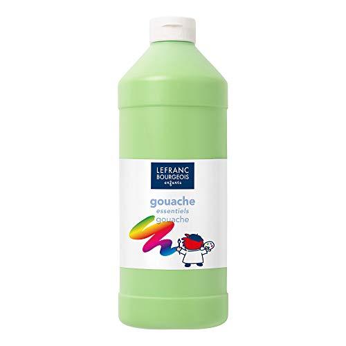 Lefranc & Bourgeois 188520 Value Kinder Gouachefarbe, auf Wasserbasis, leuchtende Farben, deckend, gebrauchsfertig, abwasschbar Dosieröffnung, 1 Liter Flasche, hellgrün - Flasche Hellgrün