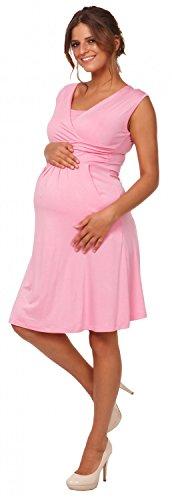 Happy Mama. Donna Vestito prémaman per l'allattamento Abito con tasche. 500p Rosa Cipria