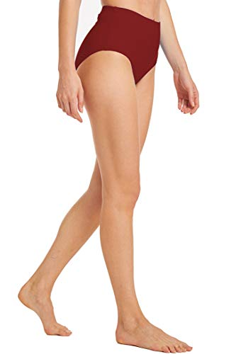 Micosuza Bikinislip Damen Retro Bikinihose Basic Bikini Unterteil Hoher Taille Badehose High Waist Badeshorts (Burgunderfarben, EU 44 = US 16) - 4
