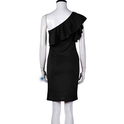 Femme Robe en dentelle Sans manches ,Tonwalk Femme Épaules Mini Robe Noir
