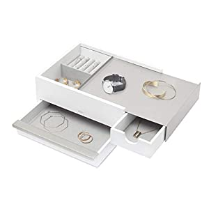 Umbra Storage Box, White/Nickel, Large