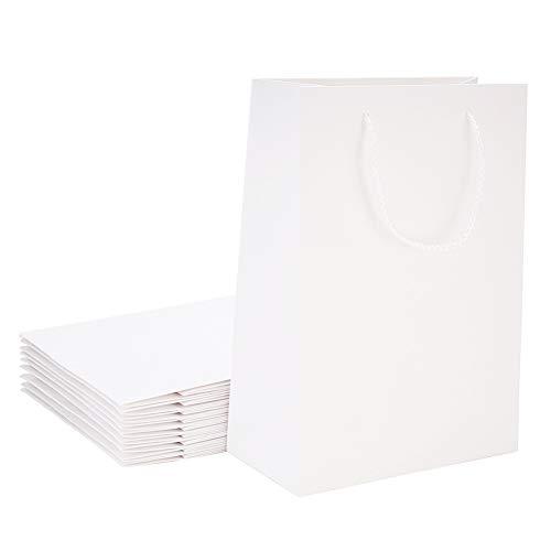 nbeads Papiertüten mit Griffen, Weiß, 10 Stück, Papier, weiß, 28x20x10cm