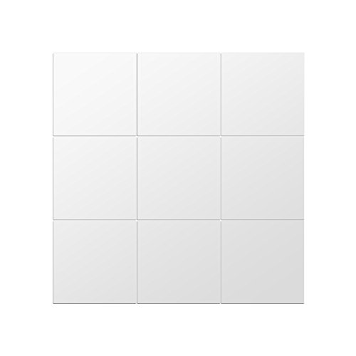 GLOGLOW 16pcs Adesivi per Piastrelle a Specchio Adesivi autoadesivi Quadrati Fai da Te Adesivi murali in plastica Non in Vetro 3D per la Decorazione Domestica
