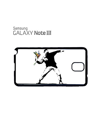 Banksy Flower Thrower Mobile Cell Phone Case Samsung Note 2 Black Blanc