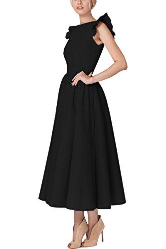 YMING Damen Midikleid 50er Cocktailkleid Vintage Rüsche Kleid Ärmellos Partykleid Elegantes...