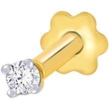 2.3mm Real I1 diamante nariz / labio Labret tornillo Stud piercing anillo hueso 18k oro