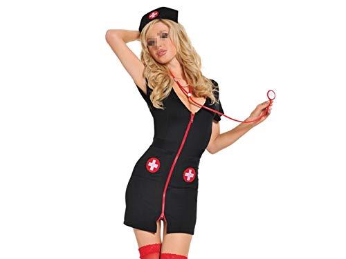 FERFERFERWON Liebe Kostüm Sexy Krankenschwester Uniform Cosplay Krankenschwester Kostüme Sexy Damen Unterwäsche Sets Halloween Cosplay Kostüm und Mütze Hut Anzug (Eine Größe) Paar Geschenk