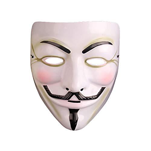 MYJ Christmas Masquerade V Gästemaske - V Wort Vendetta Hacker Geist Tanz Werwolf Töten Maske Männlich,Weiß,A