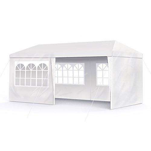 Sekey 3x 6m Gazebo da giardino impermeabile/Tenda da giardino Gazebo da giardino/regolabile/Gambe, per giardino/Festa/Matrimonio/Picnic, UV30+, pareti laterali, Bianco