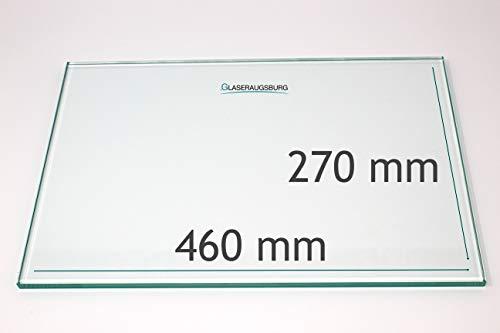 Kühlschrank Einlegeboden/Glasplatte/Gemüsefach – Klarglas 4 mm dick - 460 mm x 270 mm – Direkt vom Glasereifachbetrieb!!!