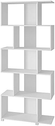 BRV Móveis MDP Book Shelf With Five Shelves, BE 08-06, White, H184 x W31 x D78.5 cm