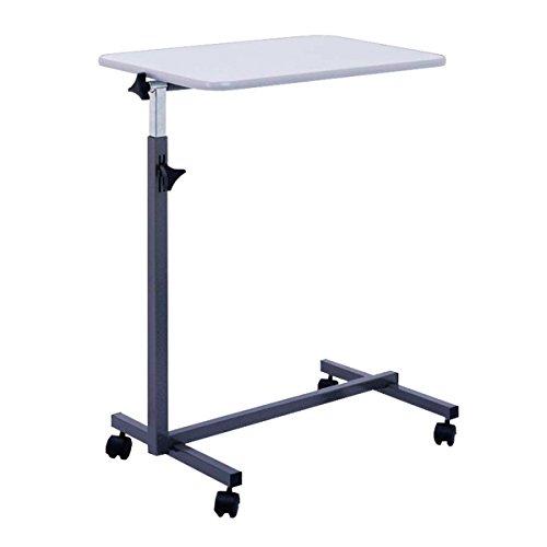 FabaCare Beistelltisch Nova, höhenverstellbarer Betttisch auf Rollen, Easy To Clean Spezialversiegelung, Tisch für Bett mit Neigung, Grau