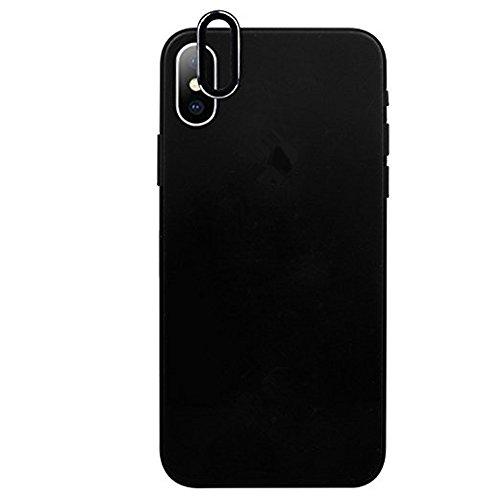 iphone x accesorios, Sannysis Lente templada de la cámara posterior de 9H dureza vidrio Cubierta protectora 3D iphone x protector para iphone x accesorios apple Protector de pantalla de lente (Negro)