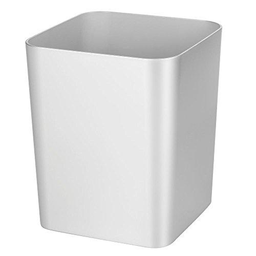 mDesign Cubo de basura – Original papelera para reciclaje o residuos – Papelera de diseño moderno con materiales de alta calidad – Papelera de cocina, baño y oficina – plateado