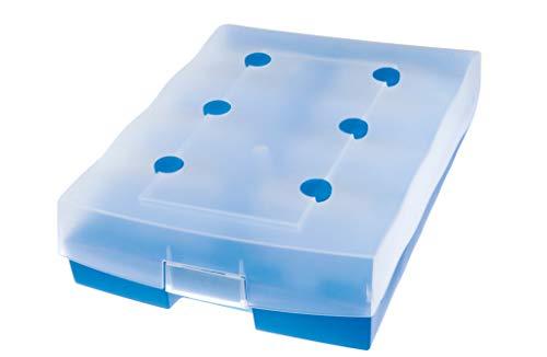 HAN Archivbox CROCO-DUO 9987-643 in Transluzent-Blau / Hochwertiger Karteikasten mit A-Z Register / Für bis zu 2.200 DIN A8-Karten