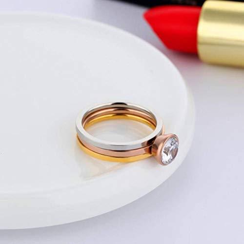 ersion Der Persönlichkeit Atmosphäre DREI-In-One-Kombination Ring Einfache Dünne Spule Licht Board Einzigen Diamant-Gelenkring, Stein, Weiblich, Partei Flachen Ring, Geometrie, ()