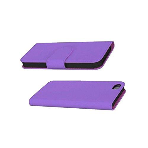 GiXa Technology Qualität Apple iPhone SE Schutztasche / Flipcase mit 2x Karten, 1x Geldscheine Fächer und Stand-Funktion, Silikon Halterung Case (für iPhone SE, Rosa) Lila