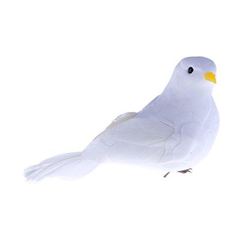 Silveroneuk 3D White Feather Mousse colombes Home Craft Kid de Simulation Jouet Oiseau Cadeaux Decor