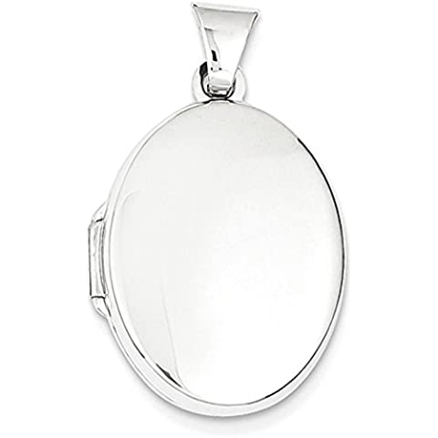Oro bianco 14k lucido medaglione ovale