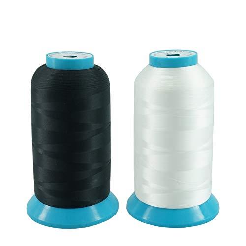 New brothread 2er Set (Schwarz+Weiß) 5000M (5500Y) Stickerei Spulen Gewinde Polyester Maschinen Stickgarn Unterfaden für Stickmaschine und Nähmaschine