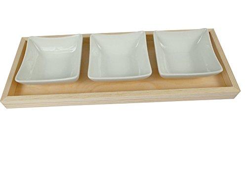 MegaCrea Plateau rectangulaire en bois + 3 coupelles carrées - Graine créative