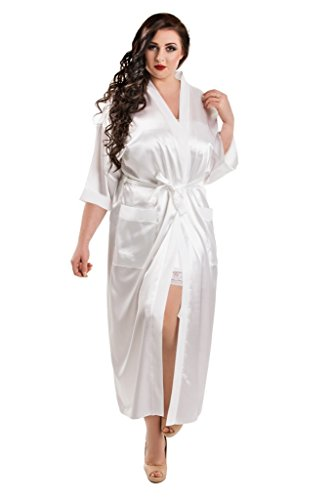 Nine X - Langer Morgenmantel aus Satin, S-7XL Morgenmantel. 36-77 White 3XL (Satin Chemise Langes)