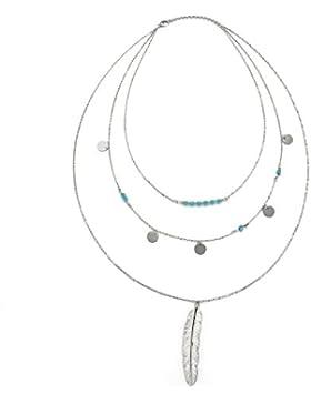 JewelryWe Schmuck Damen Halskette, mehrlagige unregelmäßige Pailletten Feder Anhänger Imitation Türkis Perlen...