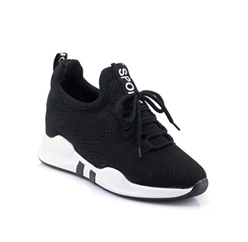 mogeek Damen Sneakers Keilabsatz 5.5cm Sportschuhe Atmungsaktive Mesh Wedges Outdoor Freizeitschuhe(Schwarz,45