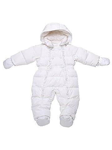 Oceankids Winter Baby Weiß Mädchen Einteiliger Schneeanzug mit Entendaunenfüllung 6-9 Monate (Scheibe Gürtel)