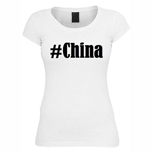T-Shirt #China Hashtag Raute für Damen Herren und Kinder ... in der Farbe Weiß Weiß