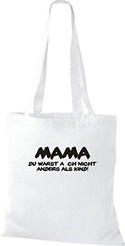 Shirtstown leur mama du warst pas autrement comme enfant fun kult sac shopper sac à bandoulière plusieurs couleurs Blanc - Blanc