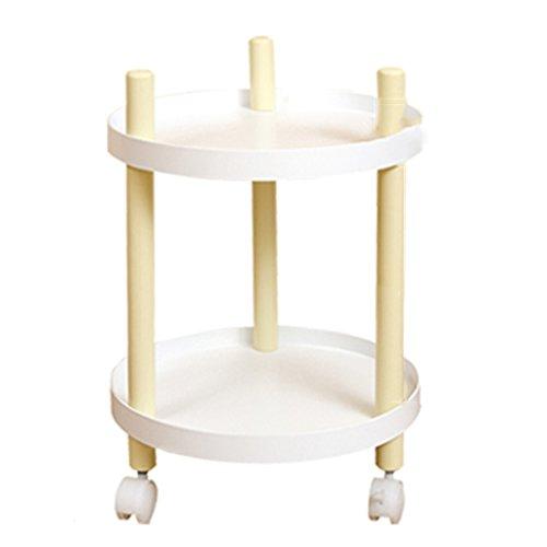 Anna Étagères de Cuisine Moderne Minimaliste Étagère Ceinture Peut Déplacer Table Basse Double Cadre Carré Coin Coin Petite Table Rangement Plateau (Couleur : White-1)
