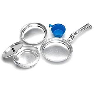 A.Blöchl Camping Cooking Set Stainless Steel or Aluminium, Adult (Unisex), 110682, 1 Person/Alu/5 tlg, standard size