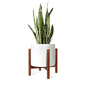 Mkouo Plant Stand Mid Century Wood Flower Pot Holder Display Potted Rack Rustic, Up to 30 Centimeter Planter (Planter Not Included), Brown