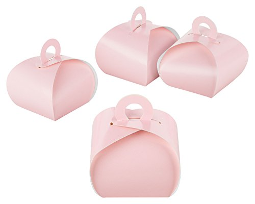 itenga 50x GeschenkBox Schachtel mit Griff rosa aus KraftKarton zum Befüllen (Gastschenk, Hochzeit Taufe Geburt Kommunion Konfirmation)