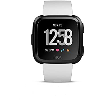 Fitbit Versa - Reloj Deportivo Smartwatch Deportivo, Unisex Adulto, Negro/Blanco, Talla Única