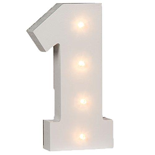 Bada Bing LED Holz Zahlen 1 Eins Jahreszahl Geburtstag Datum Tischlampe Weiß (1) … …