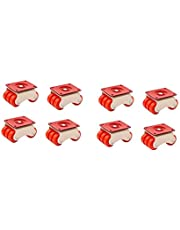 Lepose 6-Wheels Roller Moving Castor (Orange, 50 mm) -8 Pieces in 1 Box