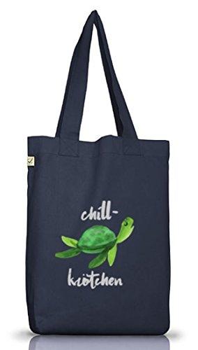Turtle Schildkröte Jutebeutel Stoffbeutel Earth Positive mit Chillkrötchen 2 Motiv Jeans Blue