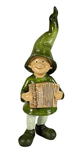 Manufaktur-Lichtbogen Dekofigur Wichtel aus Keramik grün stehend mit Akkordeon
