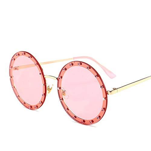 MoHHoM Sonnenbrille Oversized Runde Niet Designer Sonnenbrille Frauen Vintage Metallrahmen, Klare Gläser Sonnenbrille Pink Gelb Blau Brille Gold Rosa