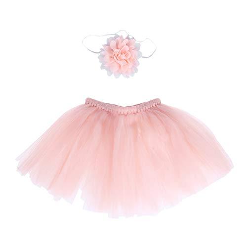YeahiBaby Baby Neugeborenen Tutu Rock und elastische Blume Stirnband Set Dance Performance Tüll Kleid Foto Requisiten (Rosa)